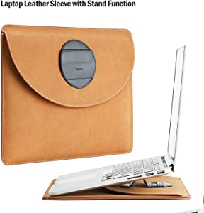 """Keytas Ultra Slim 13-13.3 Inch Laptop Sleeve Waterproof Case Cover Soft Leather Protective Bag with Stand Function, for 13"""" MacBook Pro Touchbar 2016 2017 2018/13""""-13.3"""" MacBook Air/MacBook Pro Retina"""