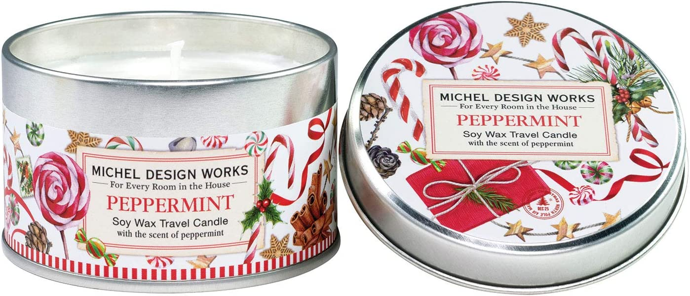 Michel Design Works Soy Wax Candle in Travel Tin Size, Peppermint