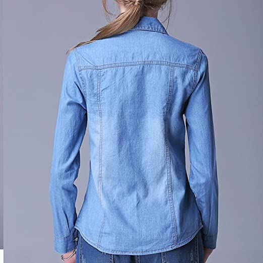 Amazon.com: Zhuhaitf Popular Female Casual Roll Up Denim Jacket Cowboy Jean Shirts for Ladies: Clothing