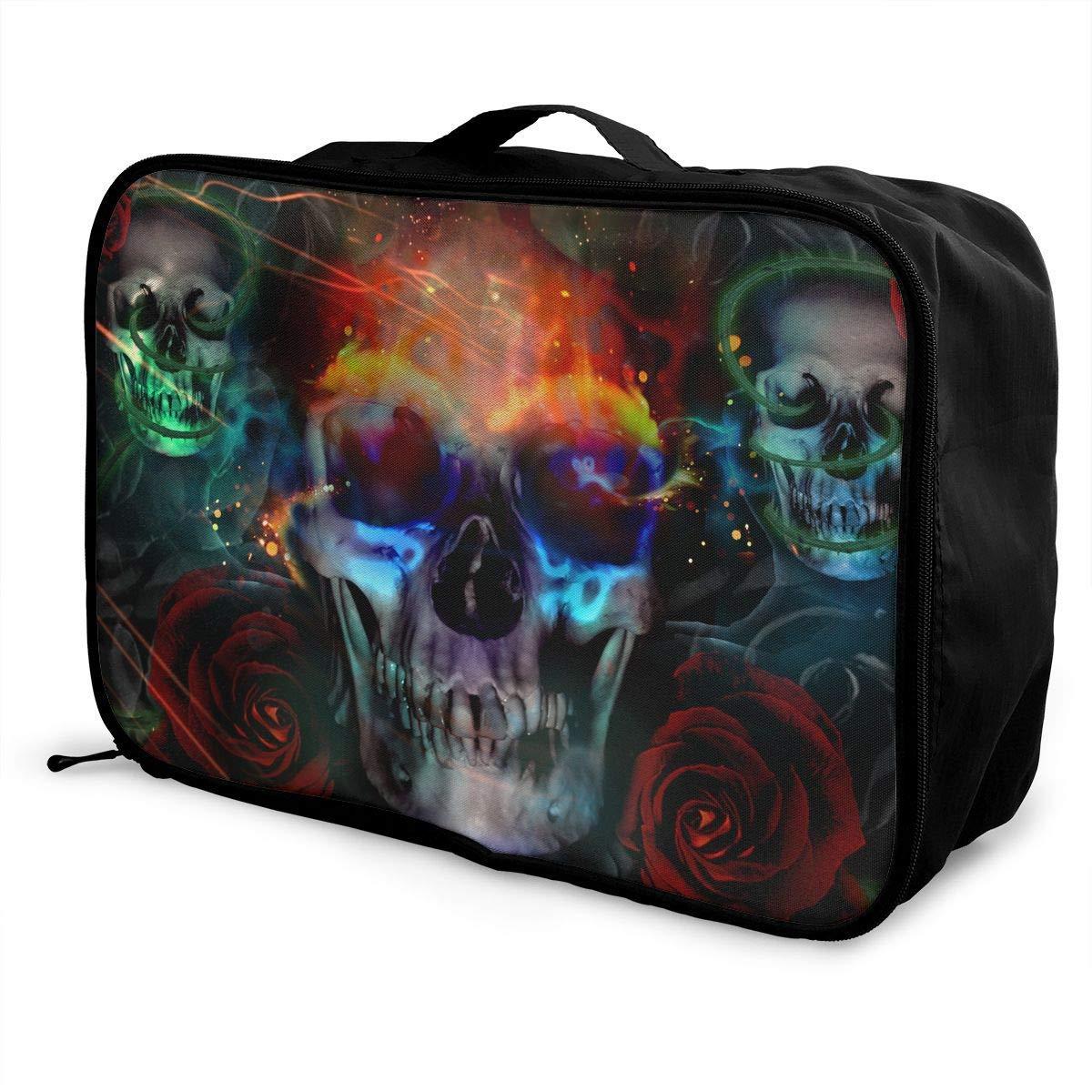 JTRVW Luggage Bags for Travel Lightweight Large Capacity Portable Duffel Bag for Men /& Women Rose Fire Skull Travel Duffel Bag Backpack