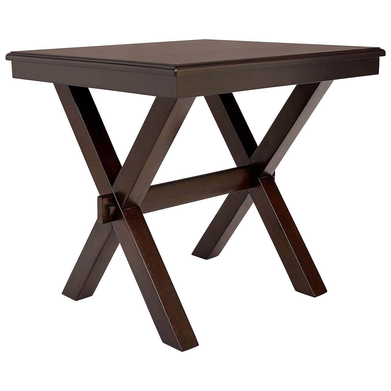 Ravenna Home Flush Mount Wood Cross Side Table, 23.6 W, Dark Brown Walnut