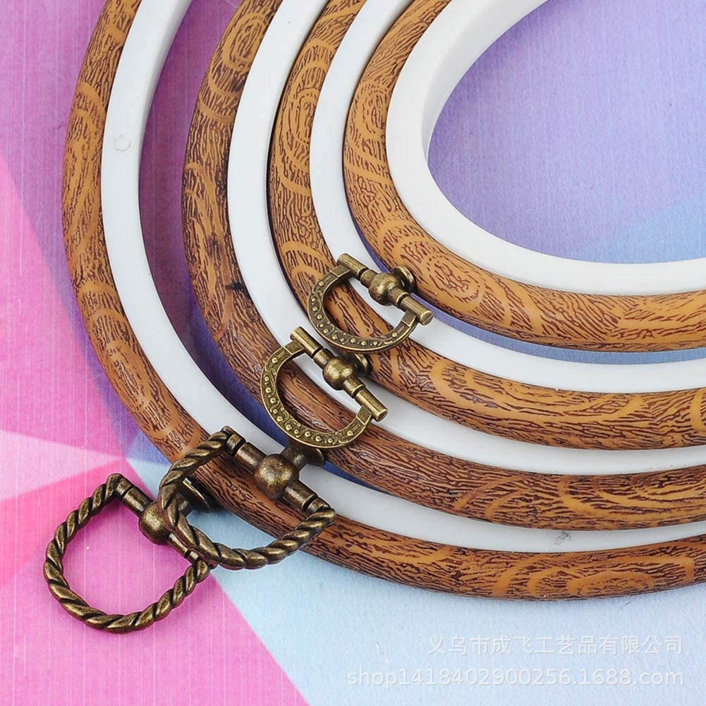1# owhelmlqff-DIY Leather Craft Tool Set Plastic Embroidery Circle Cross Stitch Hoop Ring Frame Diamond Painting Tool