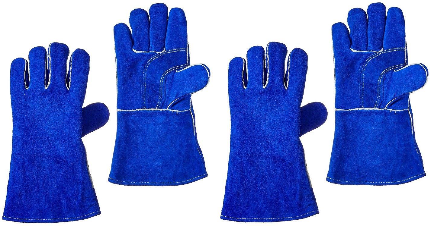 14 Blue US Forge 400 Welding Gloves Lined Leather 2 PACK