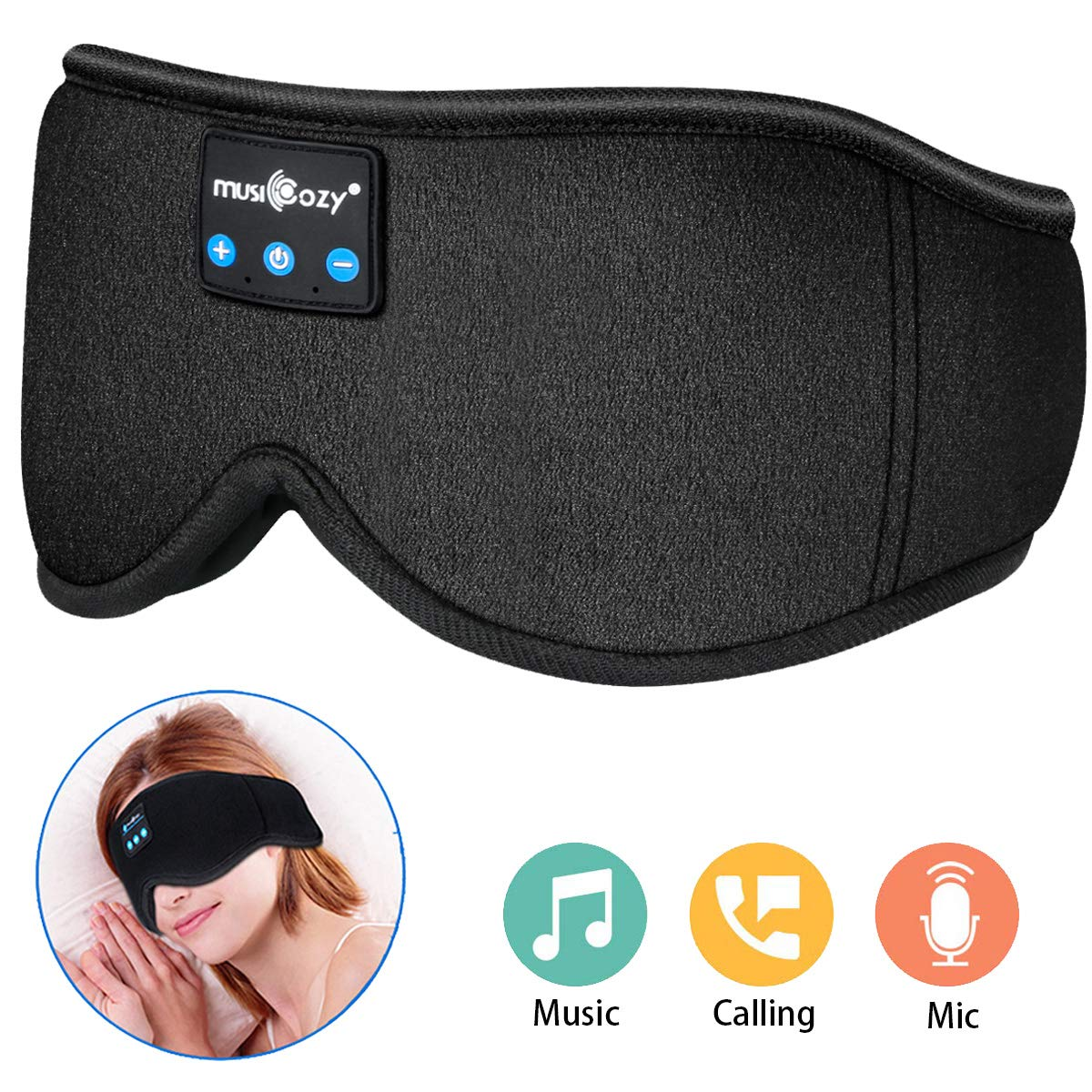 MUSICOZY Sleep Headphones, Bluetooth Sleep Mask Eye Mask with Headphones for Sleeping - Built-in HD Speakers and Microphone, Perfect for Travel, Sleeping, Meditation and Insomnia by MUSICOZY