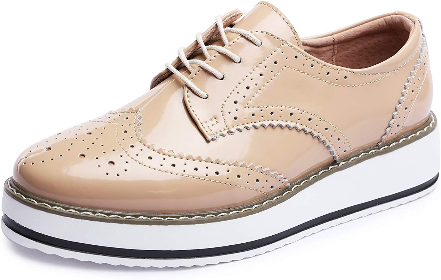 Catata Womens Wingtip Wedges Oxfords Lace-up Platform Brogues Wedding Dress Shoes
