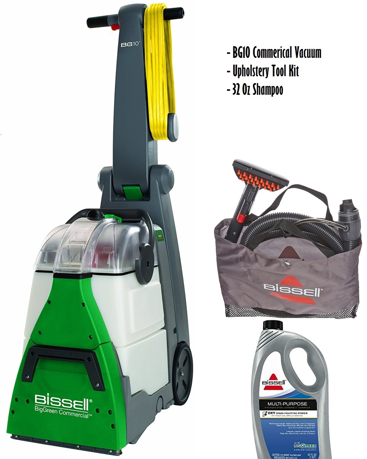 Bissell BigGreen Commercial BG10 Deep Cleaning 2 Motor Extracter Machine w/ Upholstery Tool, and 32 OZ Shampoo Bundle