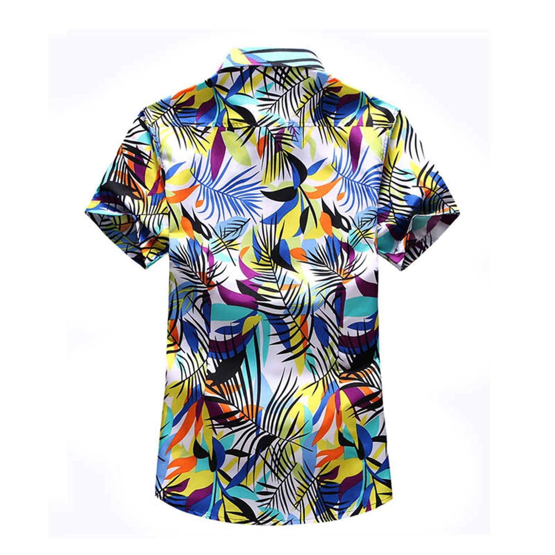 Dersimio Summer Mens Beach Hawaiian Shirt Tropical Short Sleeve Summer Shirts Men Casual Cotton Button Down Shirts Coffee
