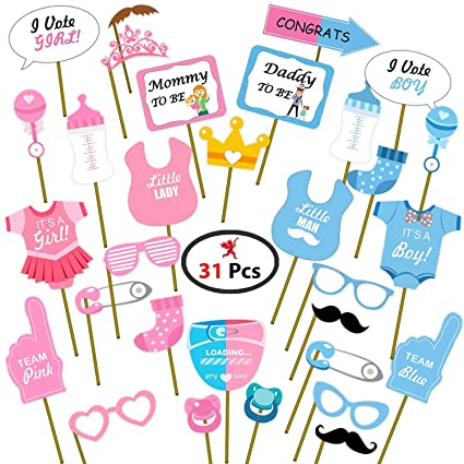 Party Propz Baby Shower Props for Photoshoot, Photo Booth, Decorations 31Pcs, Sticks Attached…