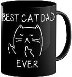 Best Cat Dad Ever funny Cat Lover Gifts Funny Middle Finger Black Coffee Mug unique Birthday Gift For Dad 11 Oz Black Cat Mug