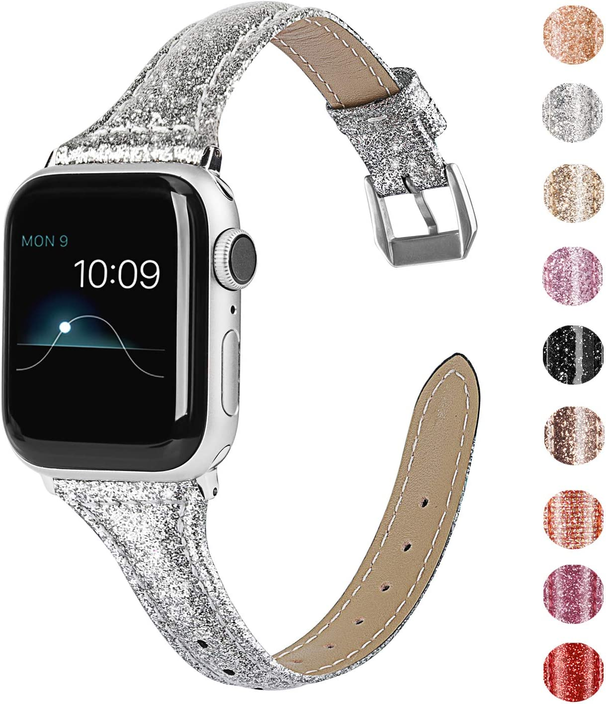 Wearlizer Silver Thin Glitter Leather Compatible with Apple Watch Bands 38mm 40mm Women for iWatch SE Slim Wristband Glistening Strap Replacement Bracelet with Silver Metal Clasp Series 6 5 4 3 2 1