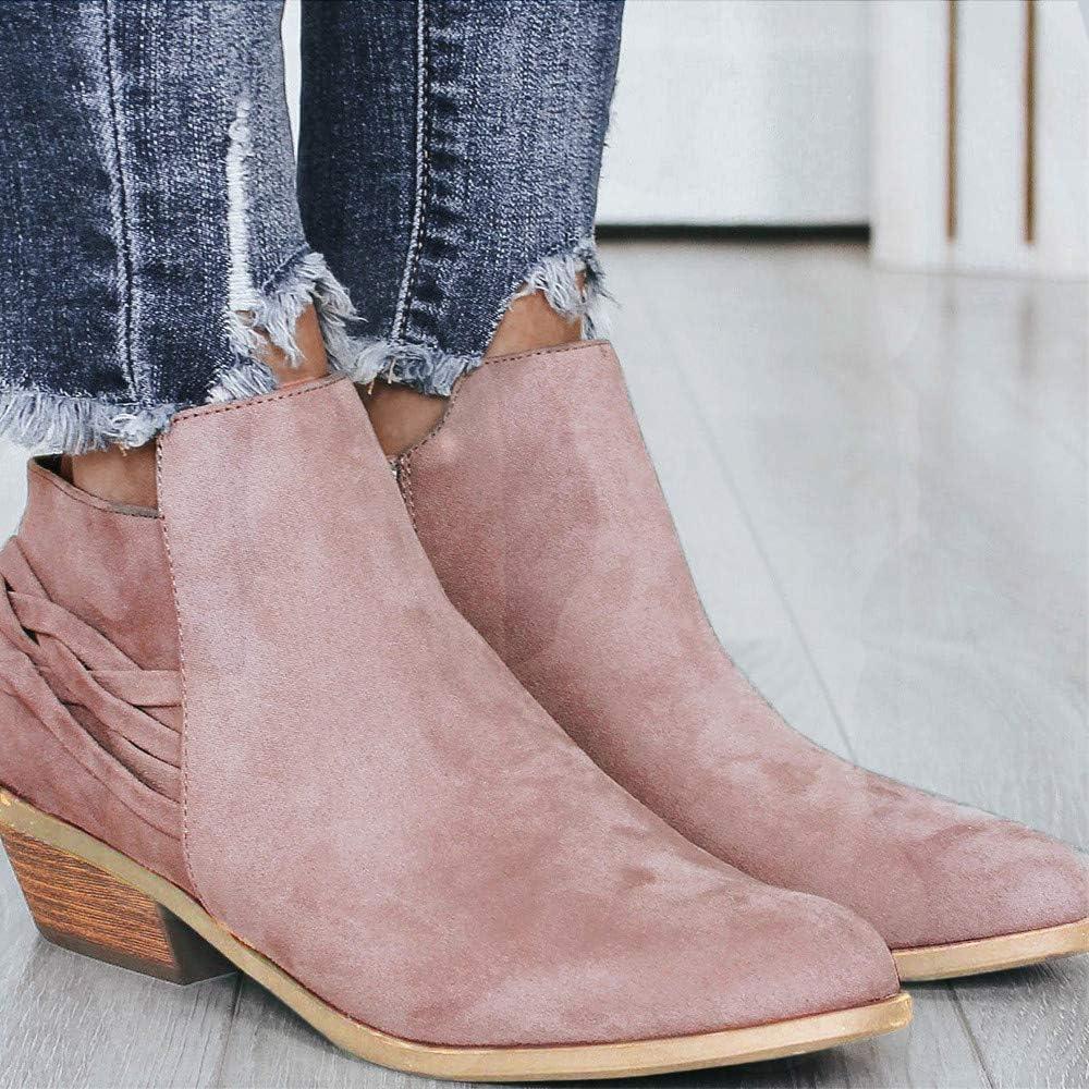 Dainzuy Suede Ankle Bootie Women Low Heel Side Zipper Pointed Toe Flock Slip on Western Short Boots