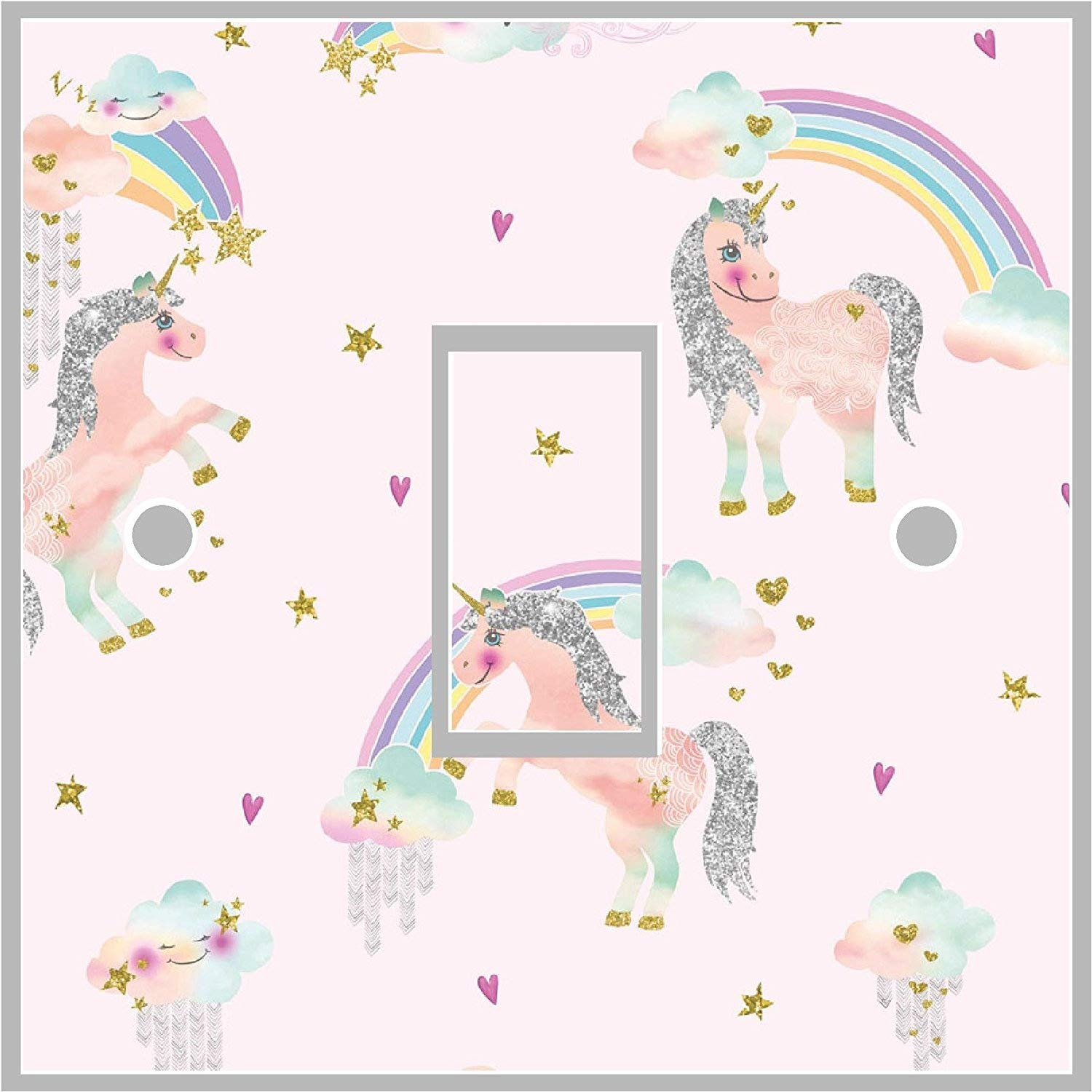 Unicorn Girls Light Switch Cover Wrap Skin UK DOUBLE or SINGLE Switch Sticker Vinyl Decal (Double Switch) Red Parrot Graphics