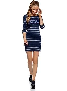 oodji Ultra Mujer Vestido con Dibujo Corazón con Alas, Azul, ES 34 / XXS: Amazon.es: Ropa y accesorios