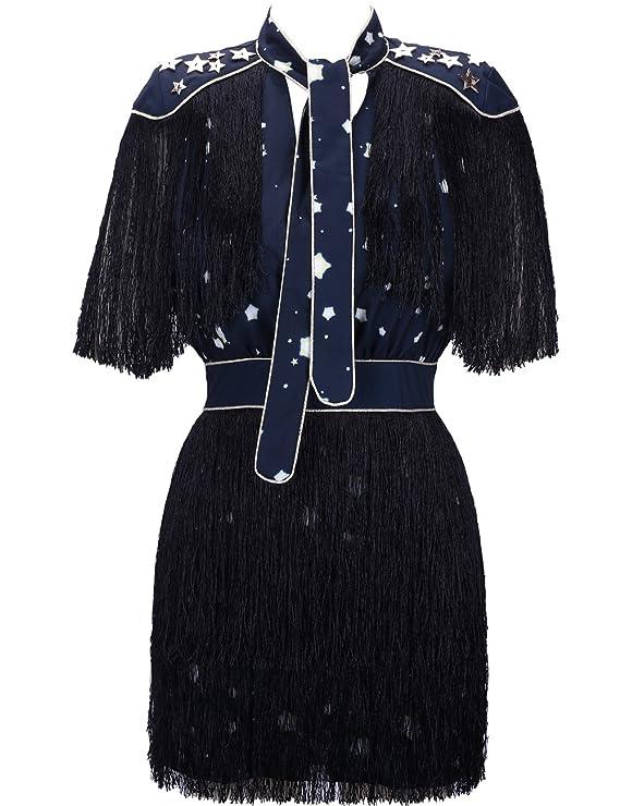 UONBOX Women's Short Sleeves Red and Blue Striped Tassel Fringe Celebrity Dress (S, Black)