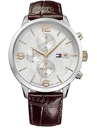 Tommy Hilfiger Reloj Multiesfera para Hombre de Cuarzo con Correa en Cuero 1710360: Amazon.es: Relojes
