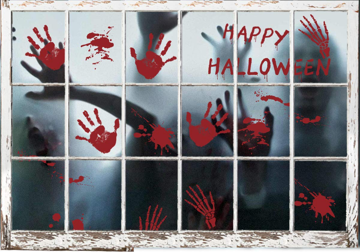 108PCS Bloody Handprints Window Clings - Halloween Vampire Party Supplies Decorations Decals Stickers(6 Sheets)