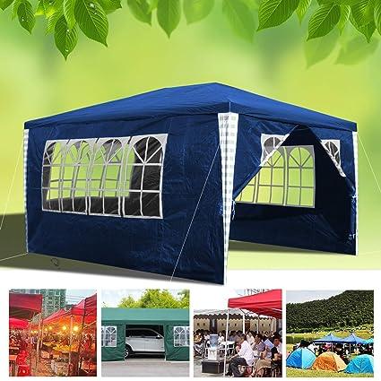 Hengda 3 x 4 m Jardin Tonnelle étanche Jardin Camping Stable tente tubes  d\'acier stable de haute qualité avec 3 parties latérales et 1 entrées  étanche