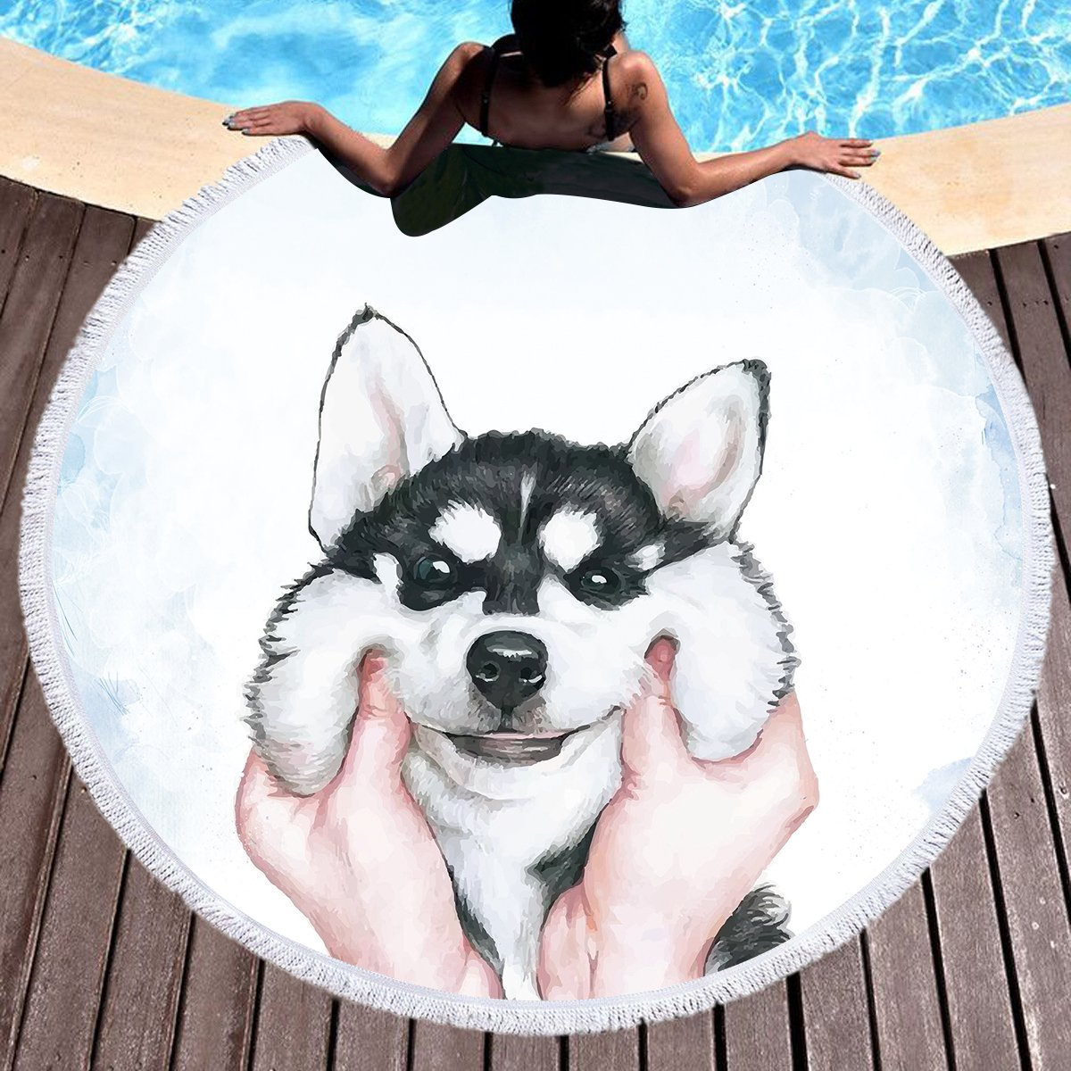 Sleepwish Wolf Beach Towel Thick Animal Round Beach Blanket for Adults Wolves Beach Throw Tapestry Roundie Towel Blanket (Black, 60 inch) Youhao SBT012331121