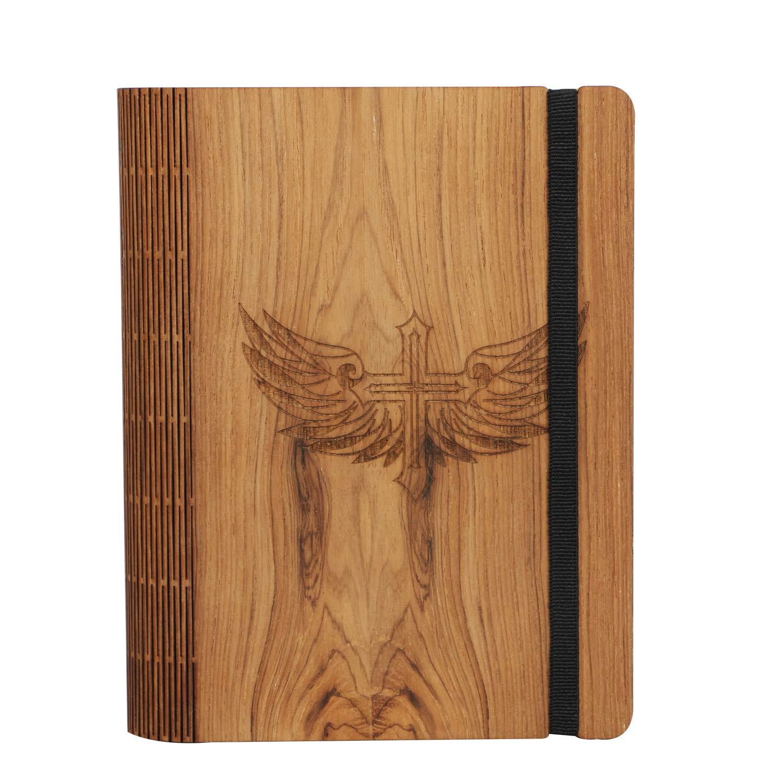 Amazon.com: Diario de madera con símbolo de cruz cortado con ...