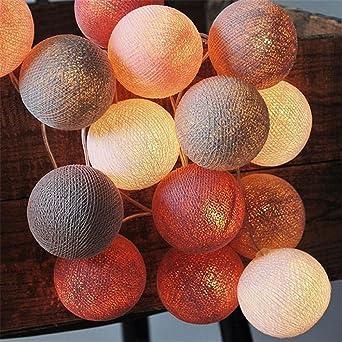 22 M 20 Led Boule Coton Guirlande Lumineuse à Piles Pour La Fête De