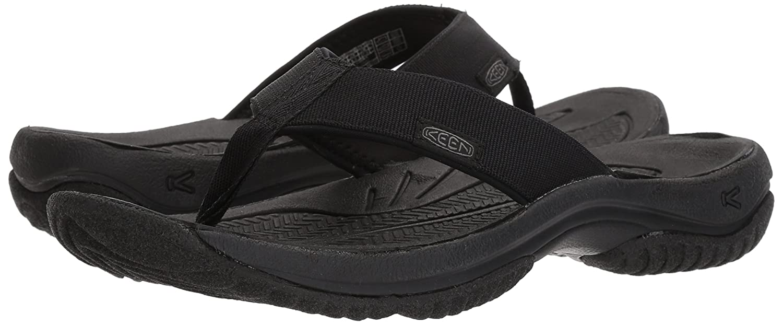 KEEN Men's Kona M Flip-M Flat Sandale, schwarz/Steel Grau, 10.5 M Kona US - 240b1b
