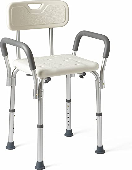 Medline Shower Chair Bath Seat With Padded Armrests And Back Supports Up To 350 Lbs White Health Personal Care