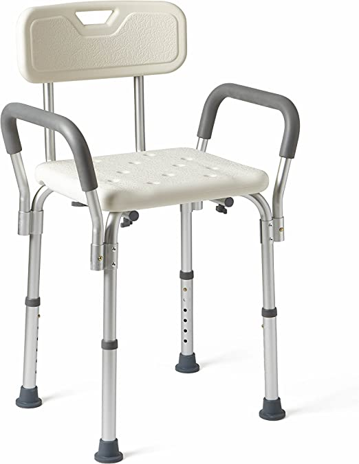 Amazon Com Medline Shower Chair Bath Seat With Padded Armrests And Back Supports Up To 350 Lbs White Health Personal Care