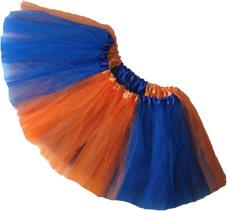 Southern Wrag Company Adult Team Spirit Tutu Orange Royal Blue Sizes S-XXL