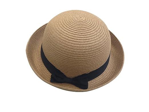 d0b7fe95 JTC Womens Ladies Sun Bowler Hat Summer Straw Hat Caps Head Wear Light  Coffee: Amazon.co.uk: Clothing
