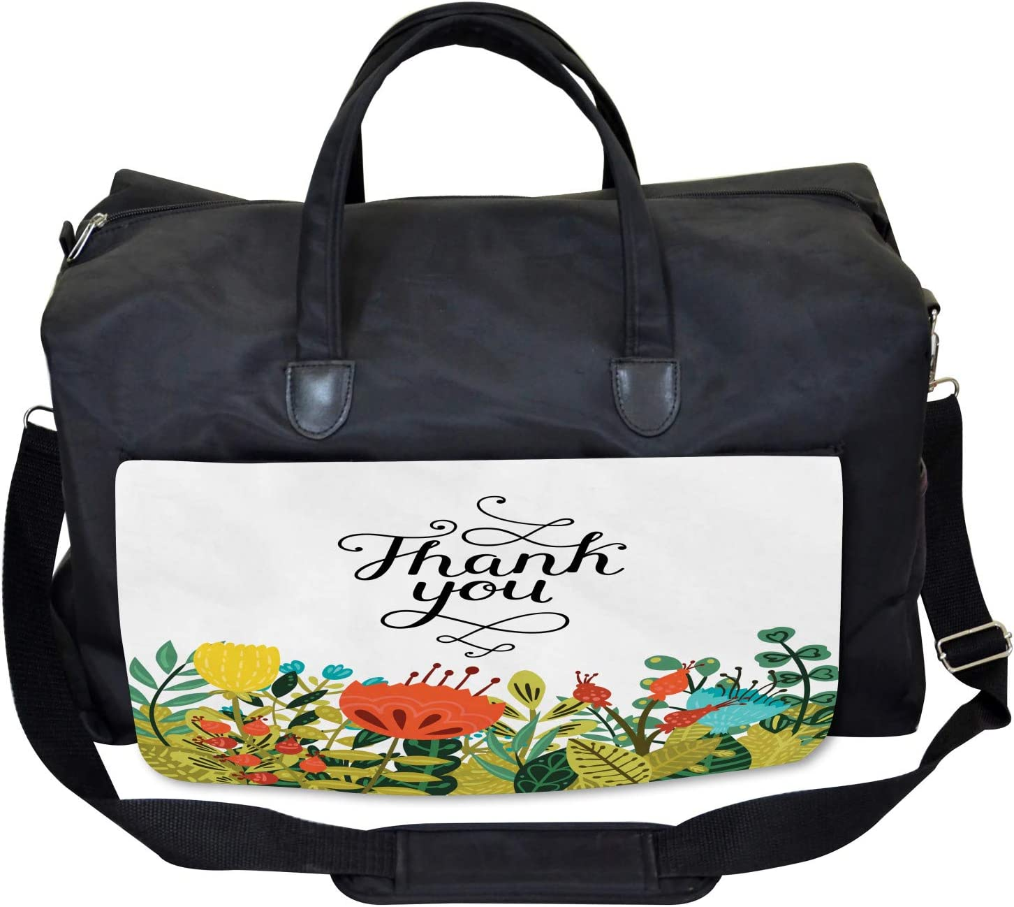 Ambesonne Floral Gym Bag Hand Writing Thank You Large Weekender Carry-on