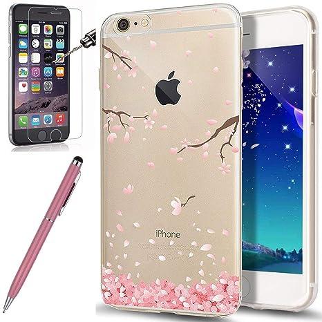Kompatibel mit iPhone 6S Hülle,iPhone 6 Hülle,[Hartglas Schutzfolie Stylus] Cherry Blossom Crystal Clear Transparent TPU Sili