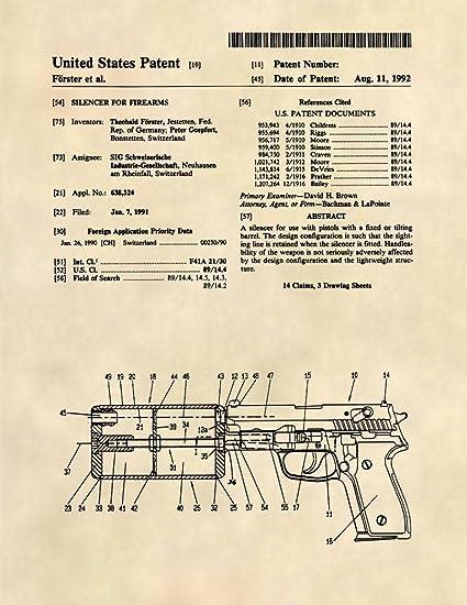 Amazon com: Patent Prints - Sig Sauer Silencer Patent Art - Gun Wall