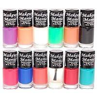 Makeup Mania Nail Polish Set Combo (Purple, Orange, White, Green, Nude, Black, Blue, Red, Turquoise, Pack of 12)