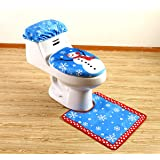 yuboo Christmas Bathroom Set,Toilet Seat Cover and Rug Set for Christmas Decorations(3 Items)