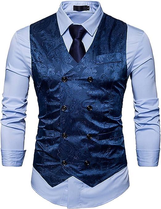 UUAISSO Hombre Paisley Elegante Chaleco Traje Slim Fit Waistcoat ...