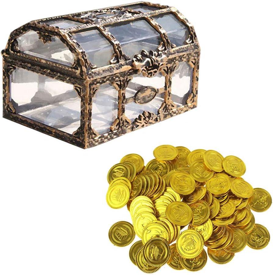 Toyvian Caja Pirata Transparente Caja de Tesoros Cofres Recuerdo Organizador de Caja de Almacenamiento con Monedas de Oro para niños: Amazon.es: Juguetes y juegos
