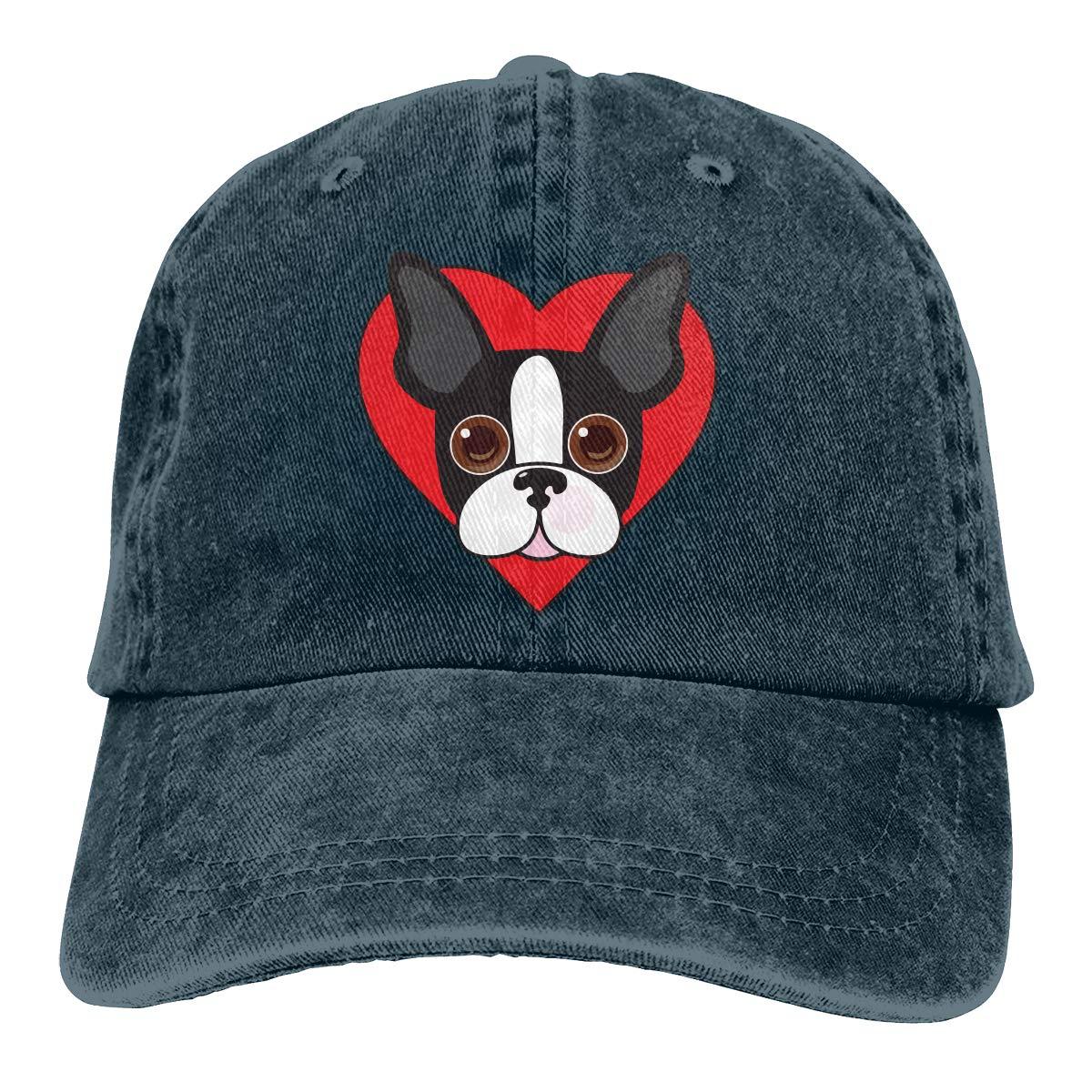 Boston Terrier Face Unisex Custom Jeans Outdoor Sports Hat Adjustable Baseball Cap