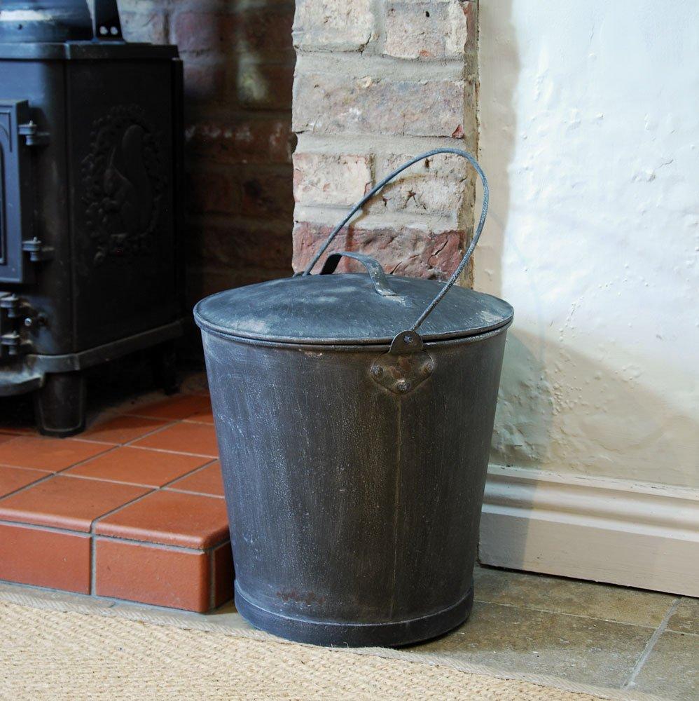 Grande nero grigio metallo stile vintage caminetto secchio Bowley & Jackson