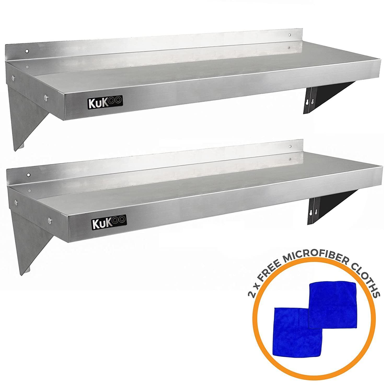 Chiffons en Microfibre Gratuits. 2 Etag/ères Murales en Acier Inoxydable R/ésistant /à la Corrosion de 125cm x 30cm pour Restaurant commercial KuKoo