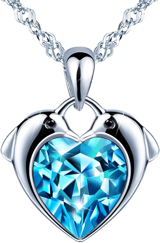 CHAINE G 45cm PENDENTIF DAUPHIN ARGENT cristal BLEU