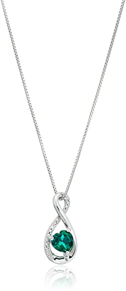 Amazon sterling silver heart lab created emerald pendant with sterling silver heart lab created emerald pendant with diamond pendant necklace 18quot mozeypictures Image collections