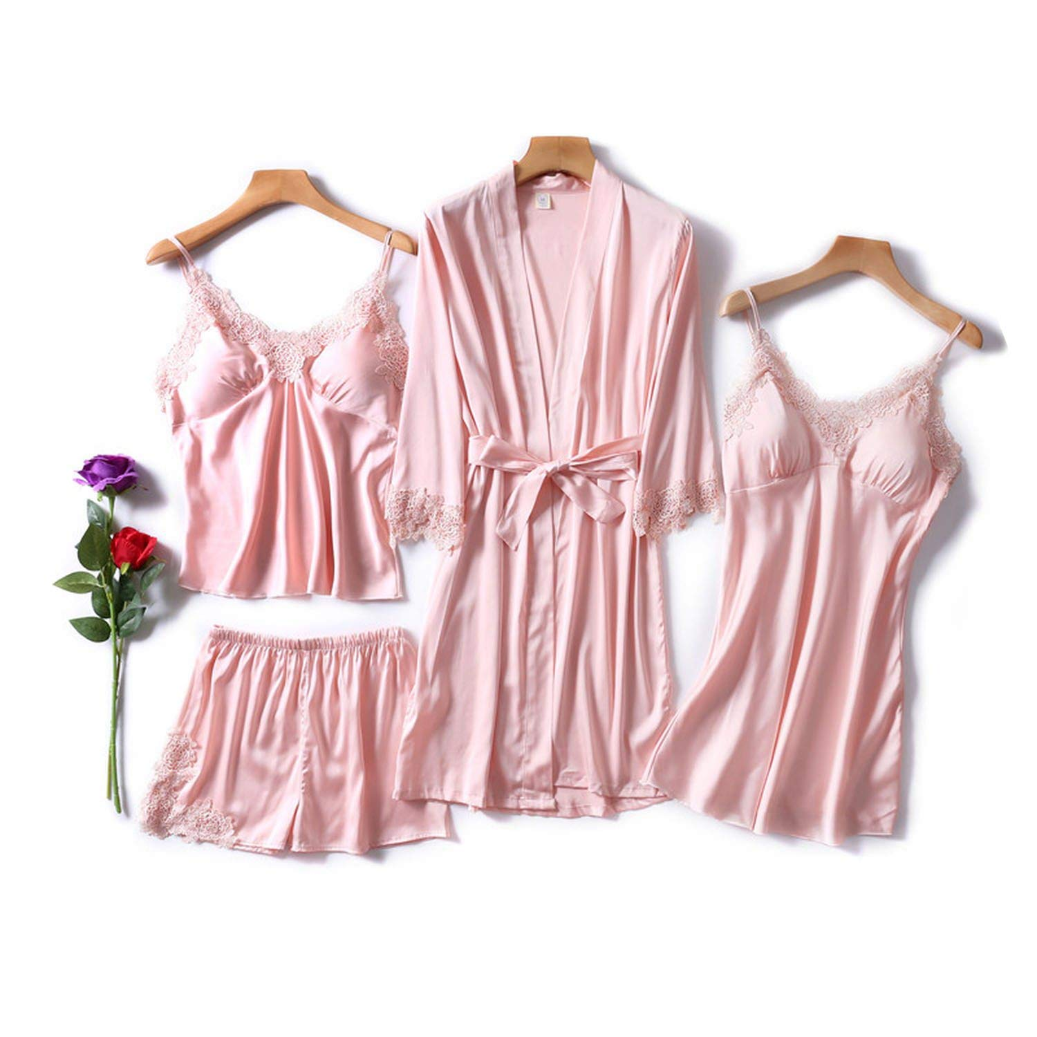 1 Glittering time 4 Piece Sexy Pajamas Set Women Faux Silk Lace Sling Sleeveless Shirt Shorts Robe Sleepwear with Chest Pads