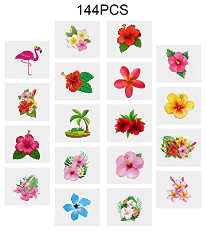 Amazoncom Moon Boat Luau Hibiscus Temporary Tattoos Hawaiian