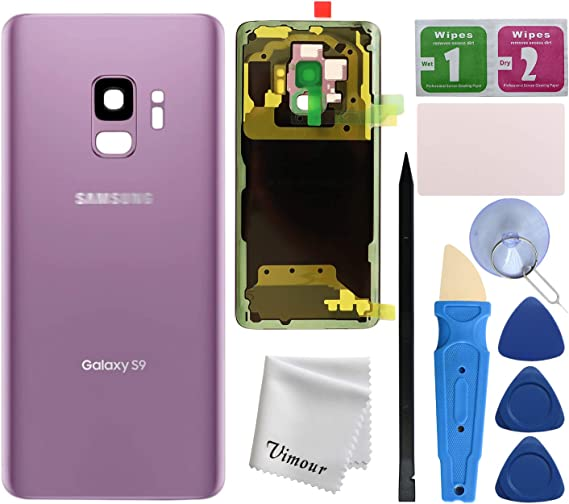 Removal Tool Camera Lens for Samsung Galaxy S9 OEM CELL4LESS Compatible Back Glass Cover Back Battery Door w//Pre-Installed Adhesive All Models G960 All Carriers- 2 Logo OEM Replacement Purple