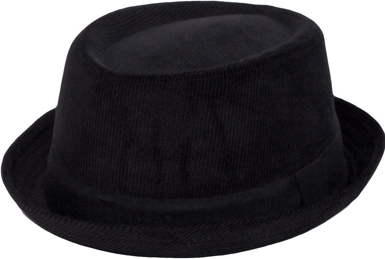 Unisex 100/% Cotton Black Cord Pork Pie Hat