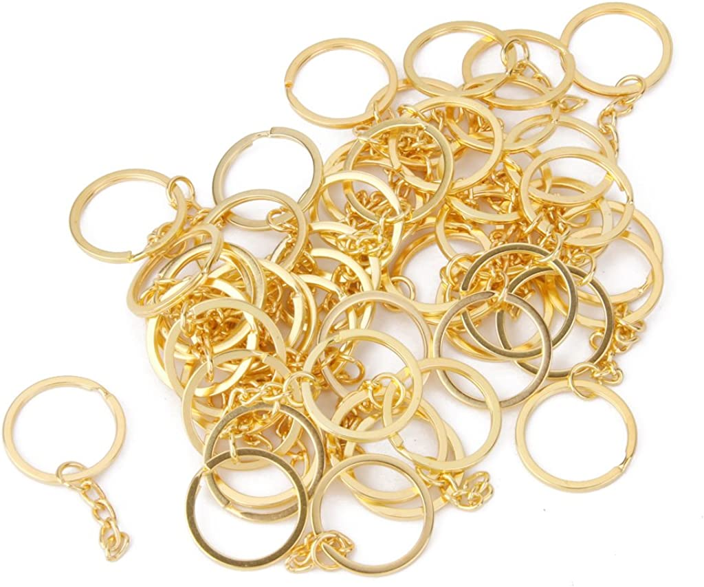 dailymall 100 St/ü 1 Zoll 25 Mm Metall Geteilter Schl/üsselring Mit Kette Goldener Schl/üsselring Schl/üsselbund Ringteile Offener Biegering Und Stecker