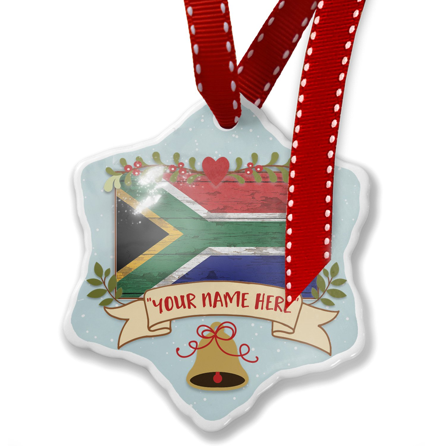 Add Your Own Custom Name, Flag on Wood South Africa Christmas Ornament NEONBLOND