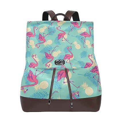 68cdd0b6921c KUWT Flamingo and Pineapple PU Leather Backpack Photo Custom Shoulder Bag  School College Book Bag Rucksack