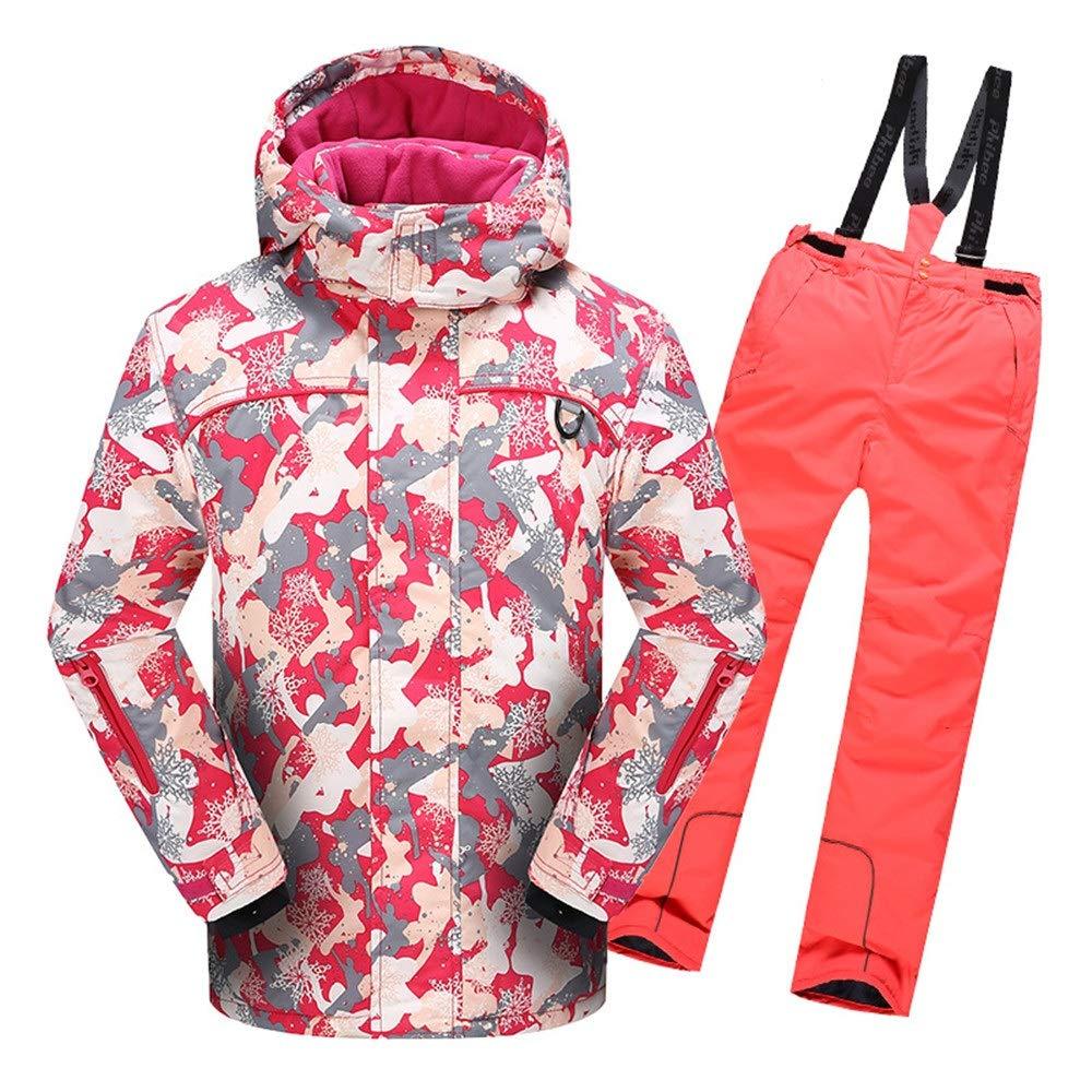 スキーウェア 男の子女の子暖かい防風防水スノーシューツフード付きスキージャケットパンツ2個セット 耐性ジャケット (色 : 赤, サイズ : 110)