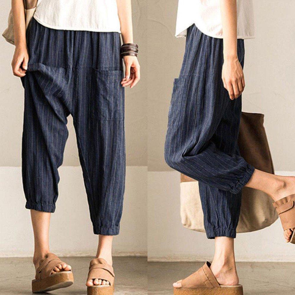 ca560c383 Sunenjoy Pantalon Rayures Taille Haute Femme Harem Pantacourt Fluide  Bouffant Rétro Causal Elastique Mode Loose
